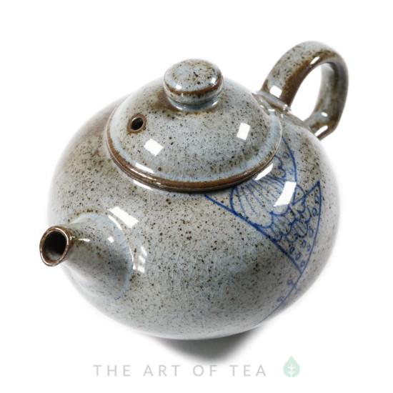 Чайник, Синий шов, глина, глазурь, 160 мл
