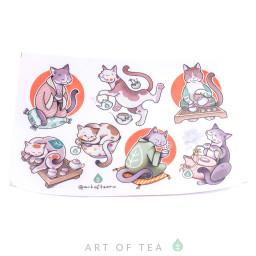 """Набор стикеров (стикерпак) """"Коты Art of Tea"""", винил"""