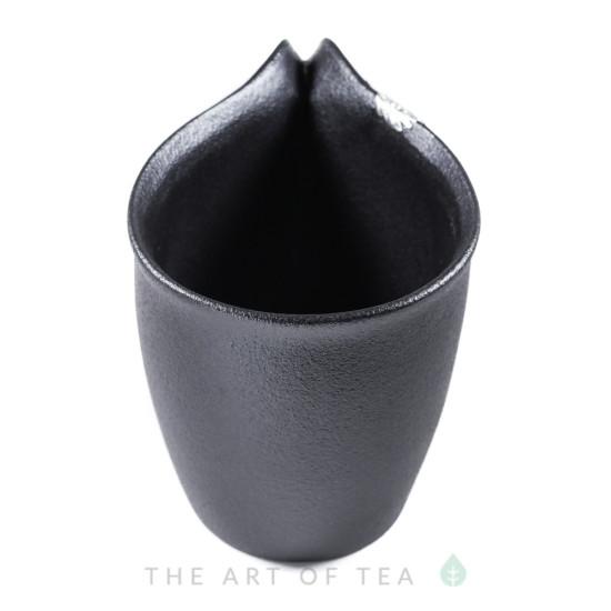 Чахай черный с листом, глина, глазурь, 215 мл