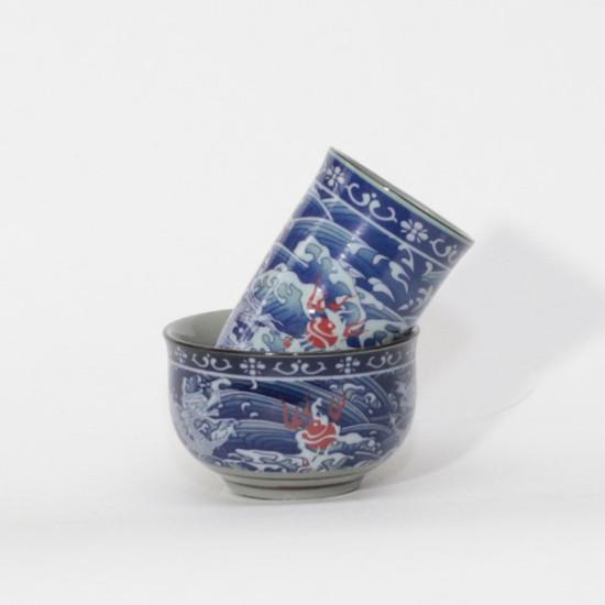 "Чайная пара ""Дракон и море"", фарфор, 45 мл"
