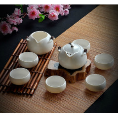 Набор для чайной церемонии, белый, 8 предметов