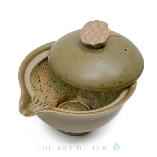 """Гайвань """"Древность"""" с носиком, зеленая, керамика, глазурь, 150 мл"""