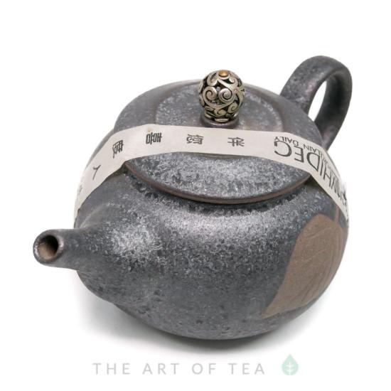 """Чайник """"Лист"""", черный, глина, глазурь 190 мл"""