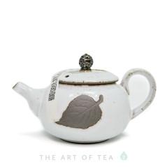 """Чайник """"Лист"""", белый, глина, глазурь 190 мл"""