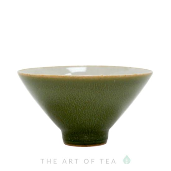 Пиала Конус, зеленая, керамика, глазурь, 55 мл