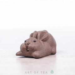 Фигурка Зайчик, серый, исинская глина, 3 см