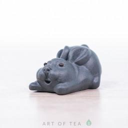 Фигурка Зайчик, синий, исинская глина, 3 см