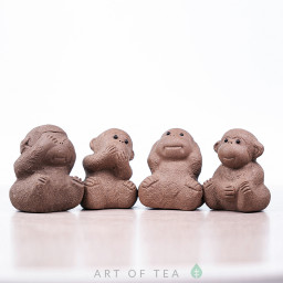 Набор фигурок 4 обезьянки, исинская глина, 5 см