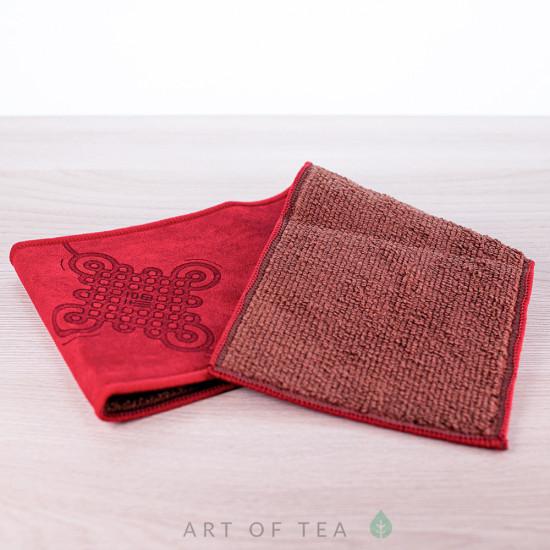 Чайное полотенце Узел счастья, красное, 10*37 см
