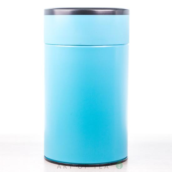 Банка для чая Цилиндр, голубая, 8,5*15 см