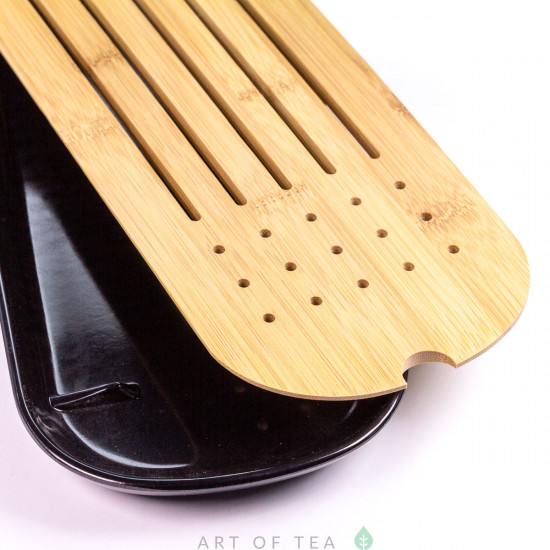 Чабань портативная #80 черная, меламин, бамбук, 31*12,5 см