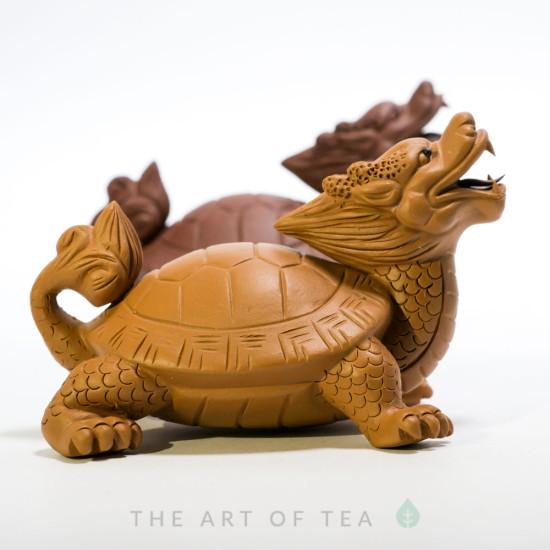 Чайная фигурка Черепаха-дракон, желтый, глина