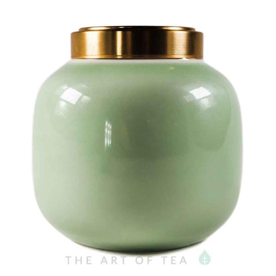 Чайница фарфор, зеленая, 200 мл