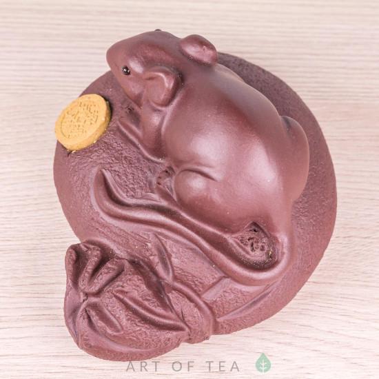 Фигурка Мышь на мешке с монеткой, исинская глина, 8 см