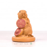 Фигурка Крыса на монетке, исинская глина, 5 см