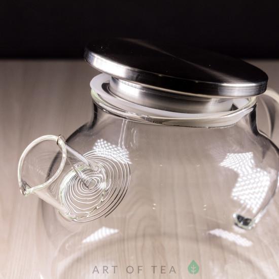 Чайник из огнеупорного стекла с металлической крышкой, 1000 мл