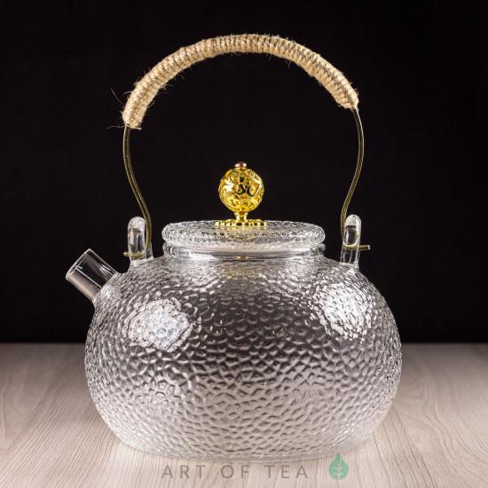 Чайник из закаленного стекла #1, ручная работа, 650 мл