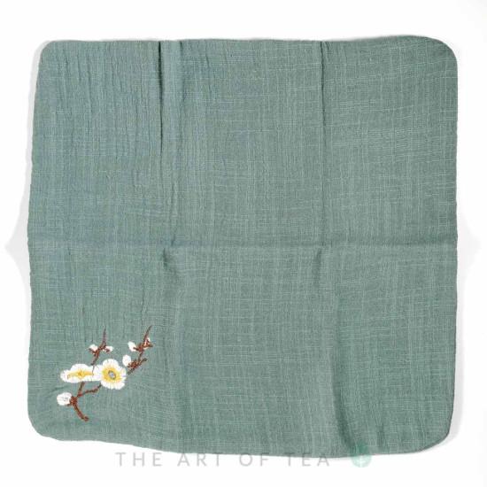 Чайное полотенце Камелия, зеленое, 28*28 см