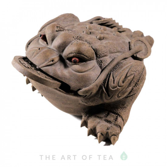 Фигурка Жаба богатства 198, серая, глина, 13 см