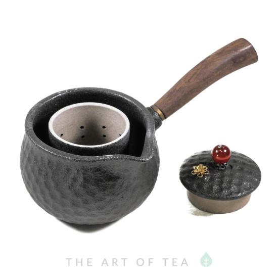 Чайник-чахай с боковой ручкой, черный, глина, дерево, 250 мл