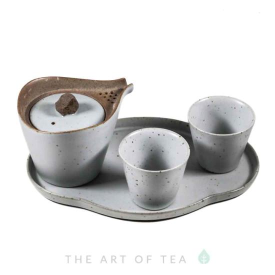 Набор посуды на подносе s63, глина, 4 предмета