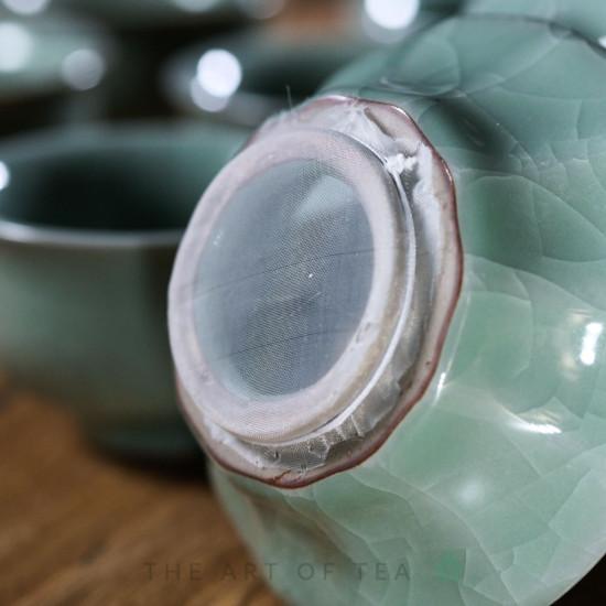 Набор посуды с чайником S64, глина, глазурь, 9 предметов