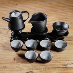 Набор посуды s67, Черный с листом, 9 предметов