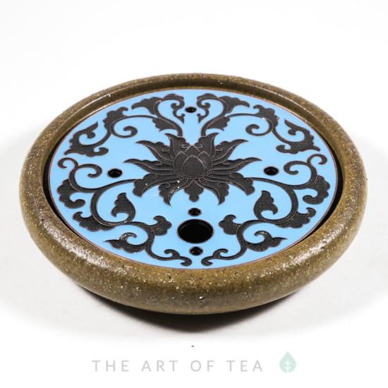 Чайный пруд Голубой цветок, глина, металл, 14 см