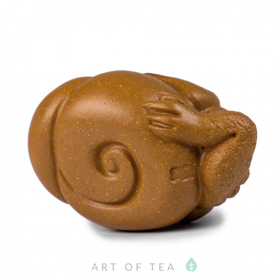 Фигурка Жаба на ракушке 213, глина, жёлтая, 7,5 см