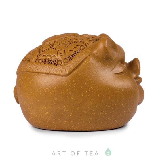 Фигурка Свинья с иероглифом, глина, 7 см