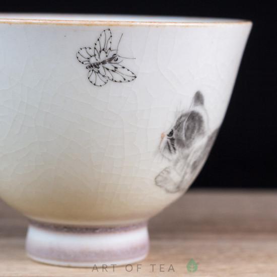 Пиала Котёнок и бабочка, Цзиндэчжэнь 588, ручная роспись, 80 мл