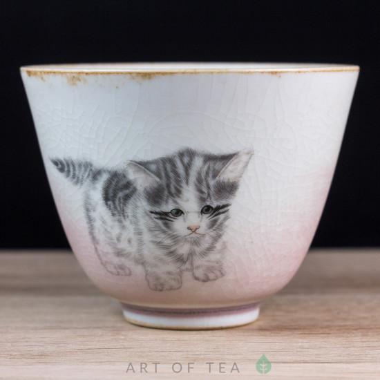 Пиала Пушистый котёнок, Цзиндэчжэнь 589, ручная роспись, 100 мл