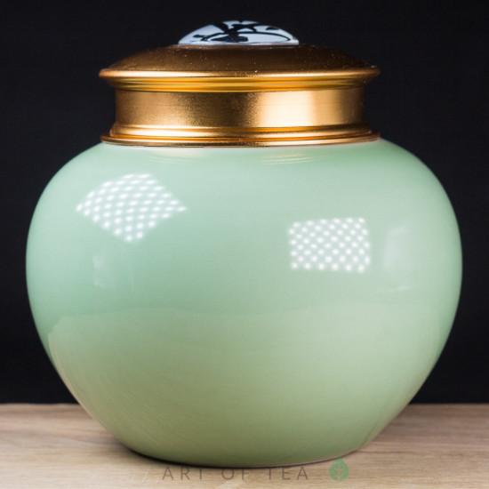 Чайница Фарфор, зелёная, двойная крышка
