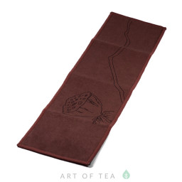 Чайное полотенце Коробочка лотоса, коричневое, 10*37 см