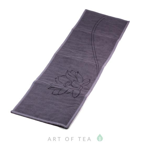 Чайное полотенце Цветущий лотос, синее, 10*37 см