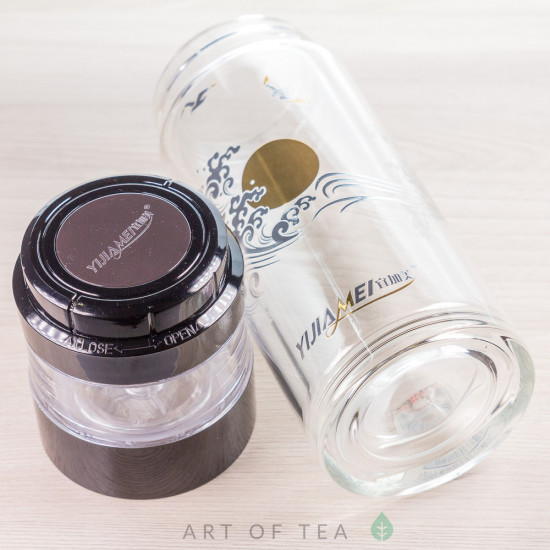 Бутылка заварочная с поворотным механизмом, двойное стекло, 400 мл