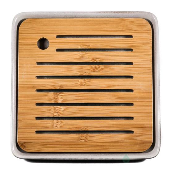 Чабань, керамика, бамбук, зеленая, 21*21 см