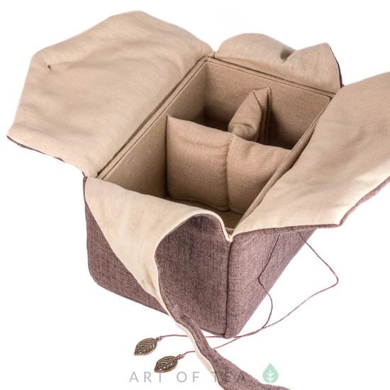 Чехол-шкатулка для чайной утвари #1, коричневый
