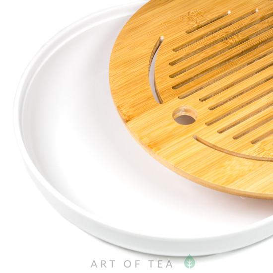 Чабань Круг #74, белая, меламин, бамбук, 25 см