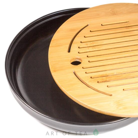 Чабань Круг #73, чёрная, меламин, бамбук, 25 см