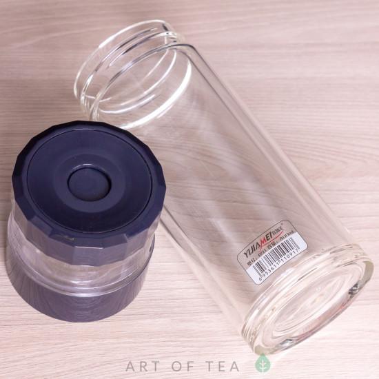 Бутылка заварочная с кнопкой B-91, двойное стекло, 400 мл