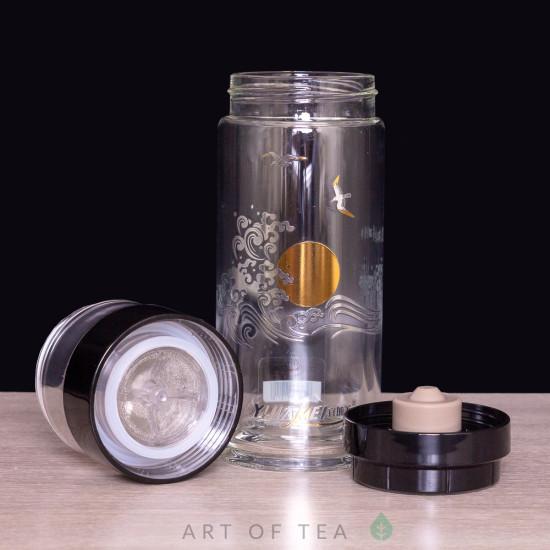 Бутылка заварочная с поворотным механизмом Восходящее Солнце, двойное стекло, 400 мл