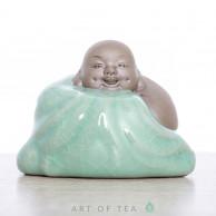 Фигурка Хотей, глина, селадон, 7 см