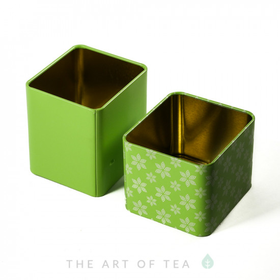Баночка для чая Куб, зеленая, 6*6,5*7 см