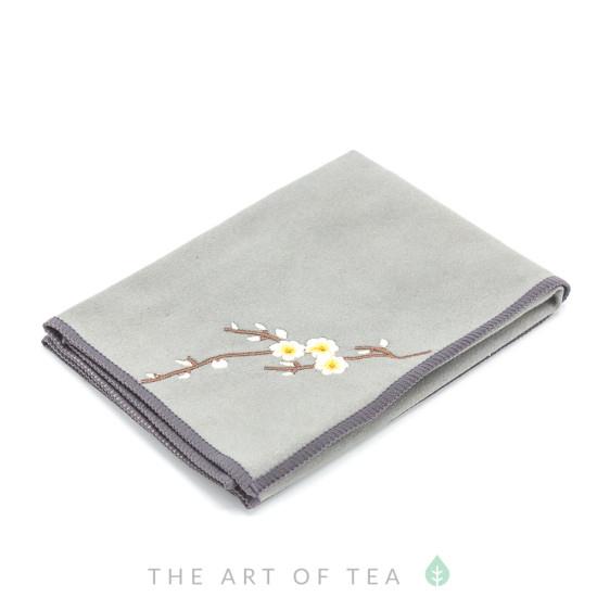 Чайное полотенце Ветка с цветком, серое, 30*30 см