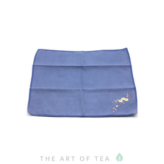 Чайное полотенце Ветка с цветком, синее, 30*30 см
