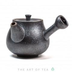Чайник с боковой ручкой, чёрный, керамика дэхуа