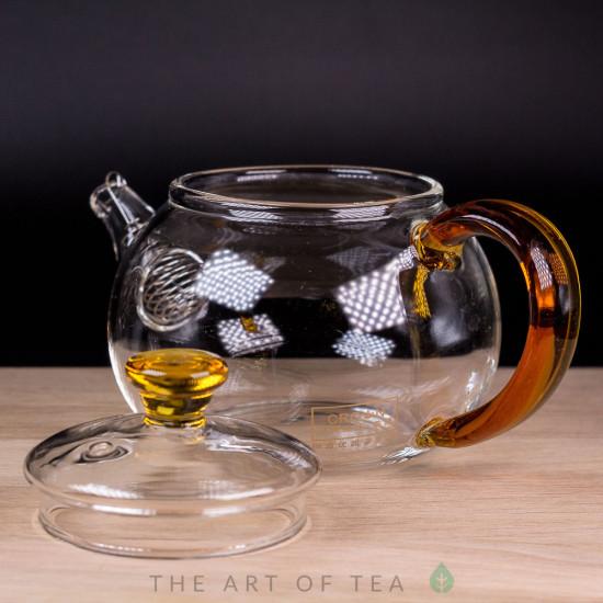 Чайник стекло, оранжевый, 260 мл