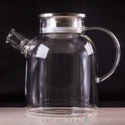 Чайник из огнеупорного стекла с металлической крышкой, 1600 мл