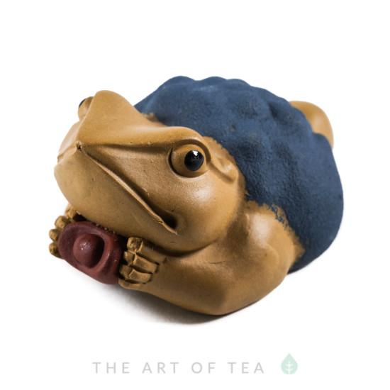 Чайная фигурка Жаба с золотым слитком (светлая), глина